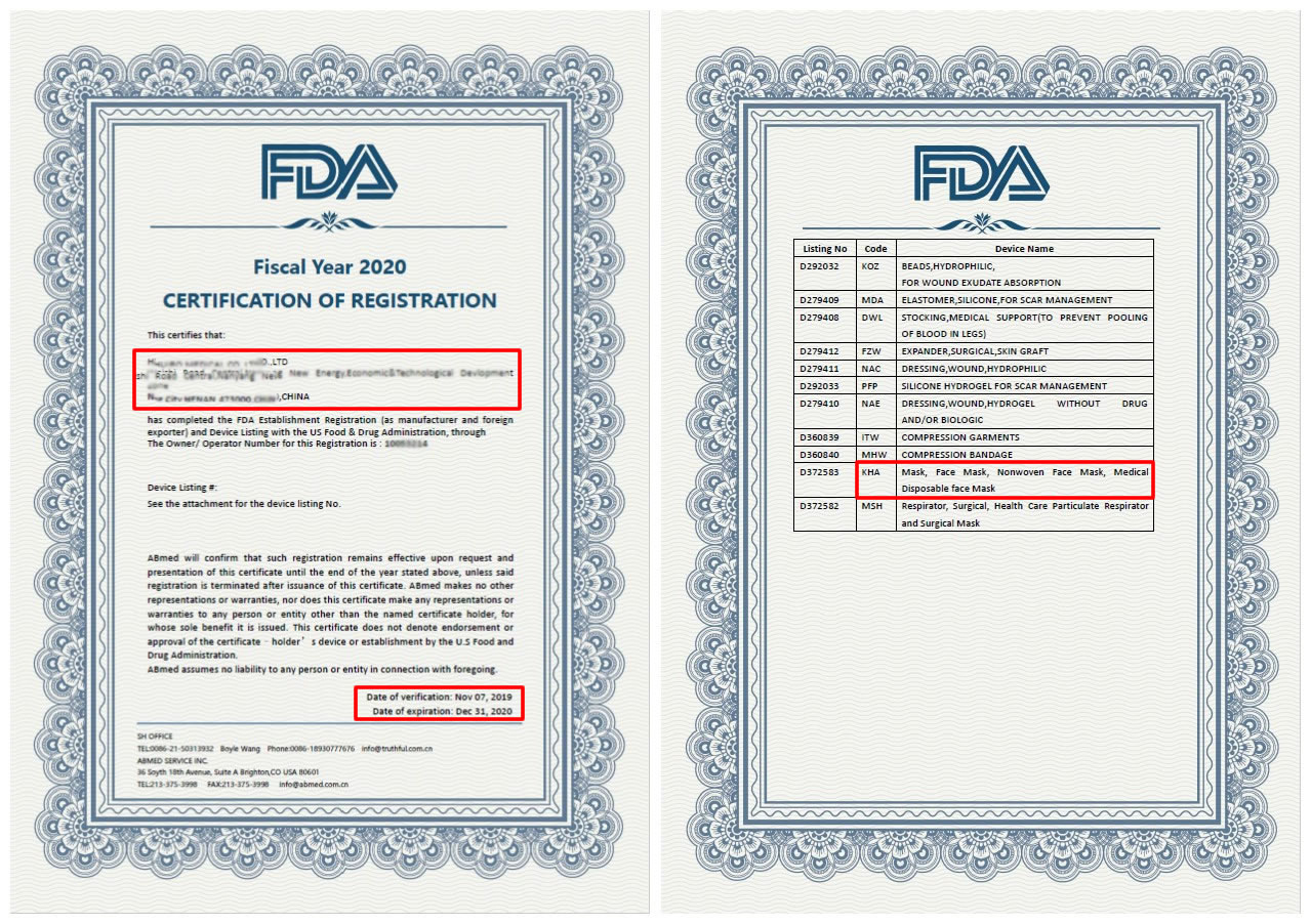 MASK with FDA&CE 2020